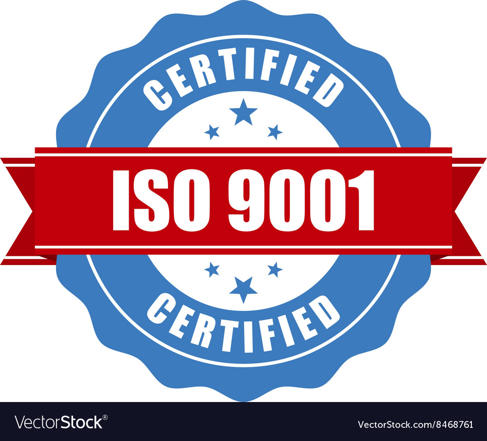 Iso 9001 certified stamp  quality standard seal vector