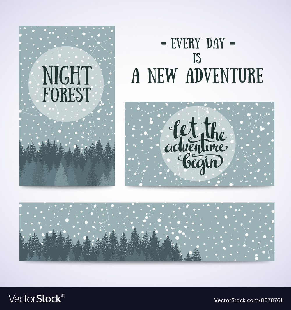 Set of banners and cards with night sky with stars vector