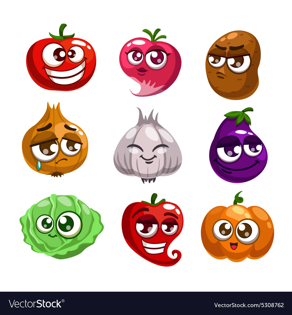 Cartoon vegetables characters vector
