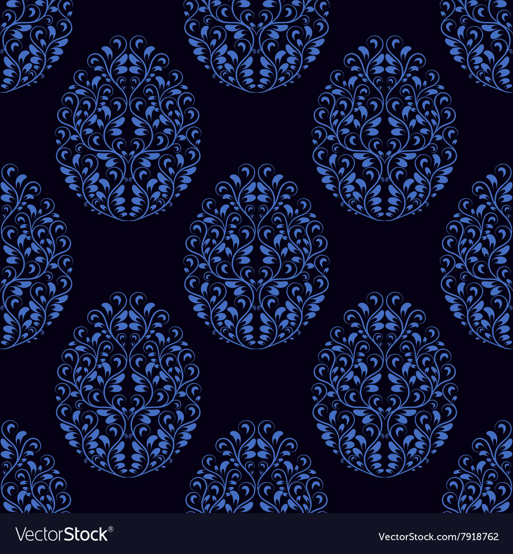 Seamless pattern from eggs with blue floral vector