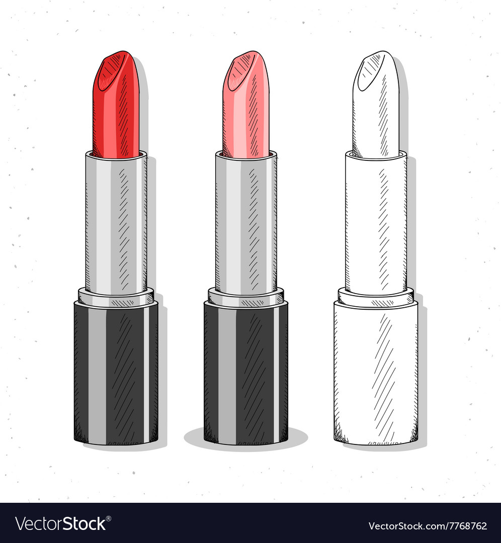 Set realistic sketch lipsticks womens cosmetics vector