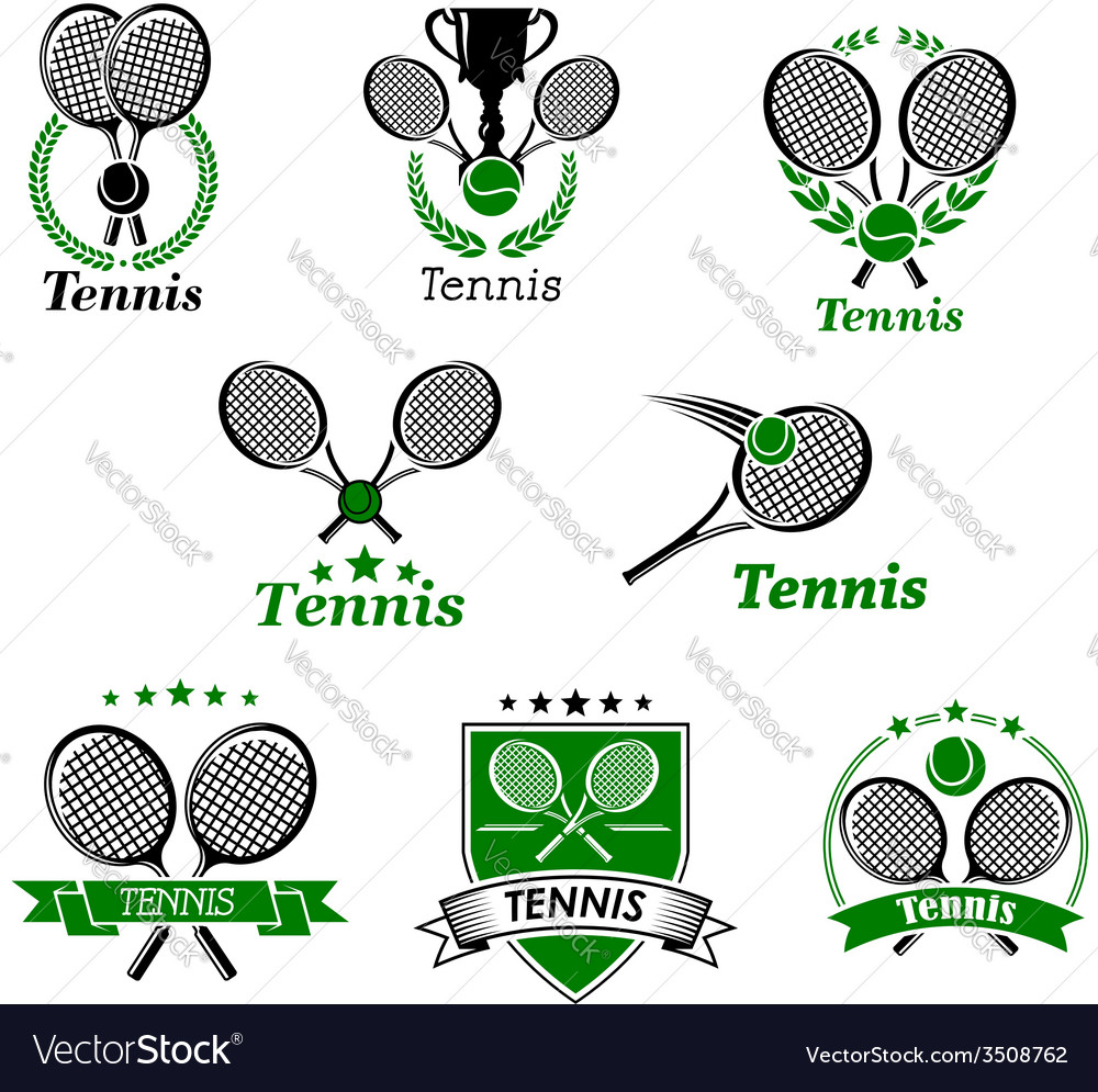 Tennis emblems or logo in retro style set vector
