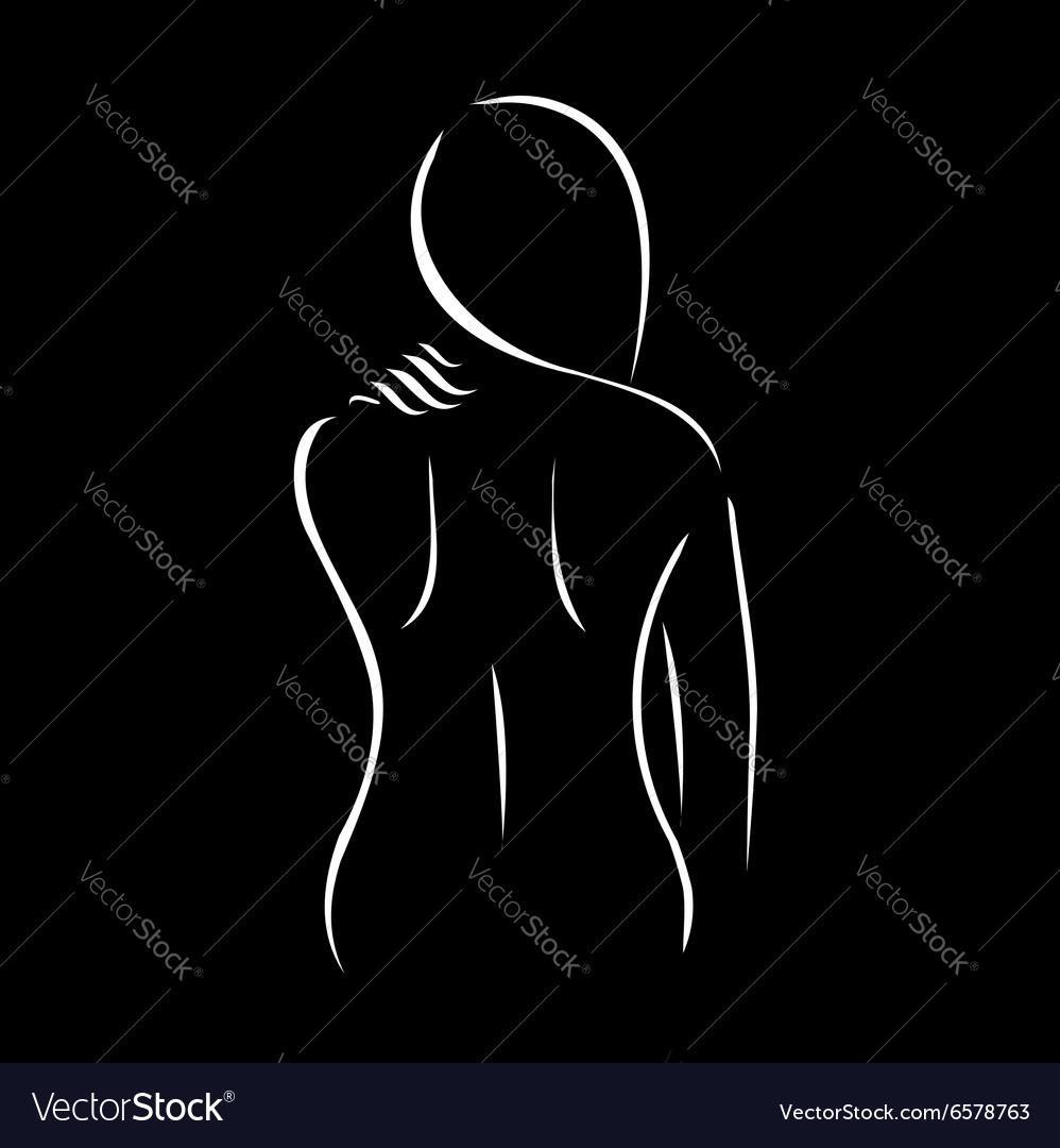 Abstract drawing of a woman touching her shoulder vector