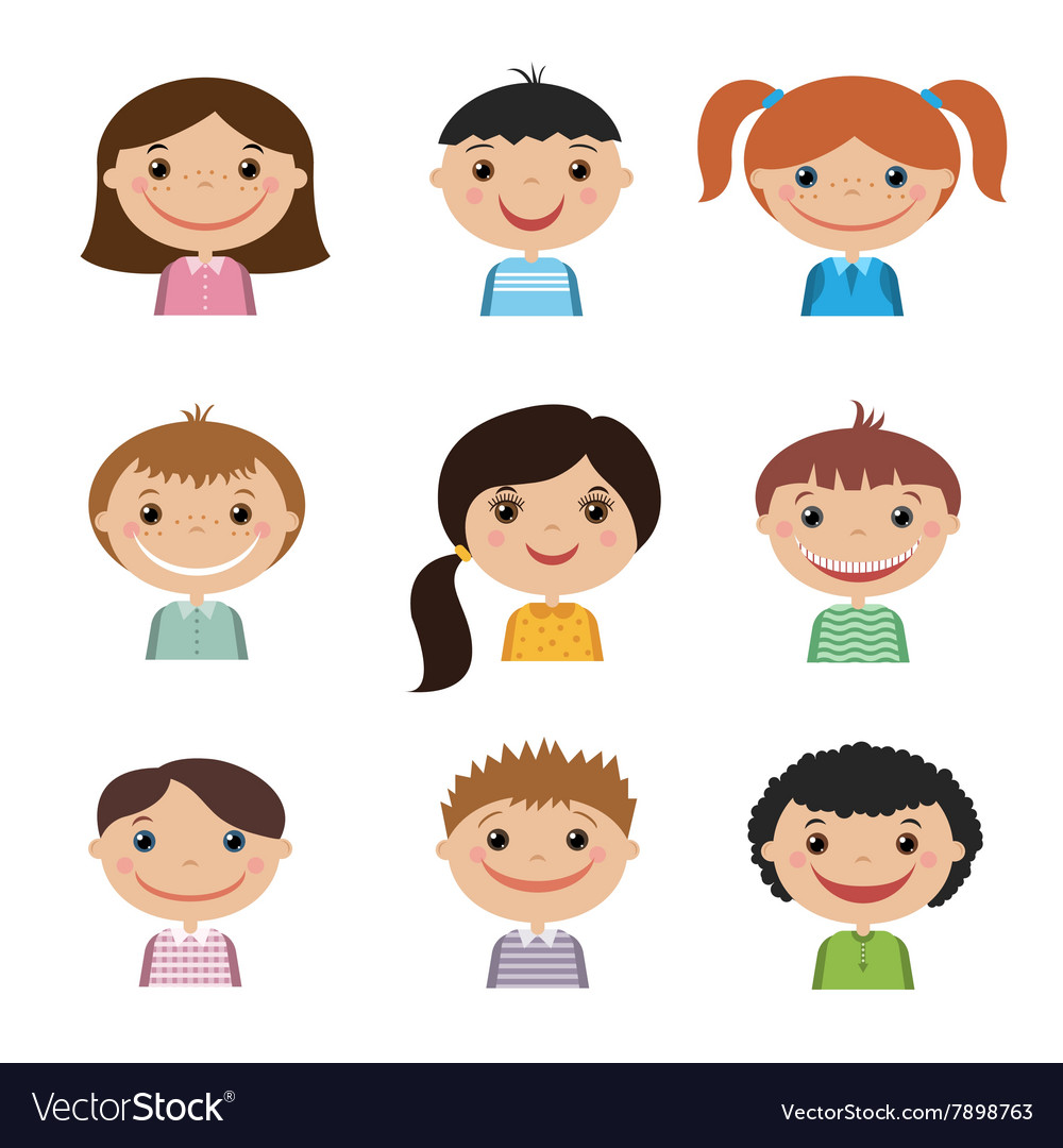 Set of smiling kids vector