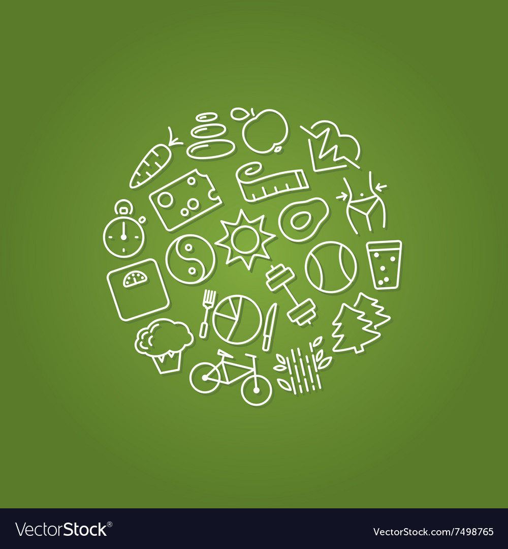 Healthy lifestile icons in circle vector