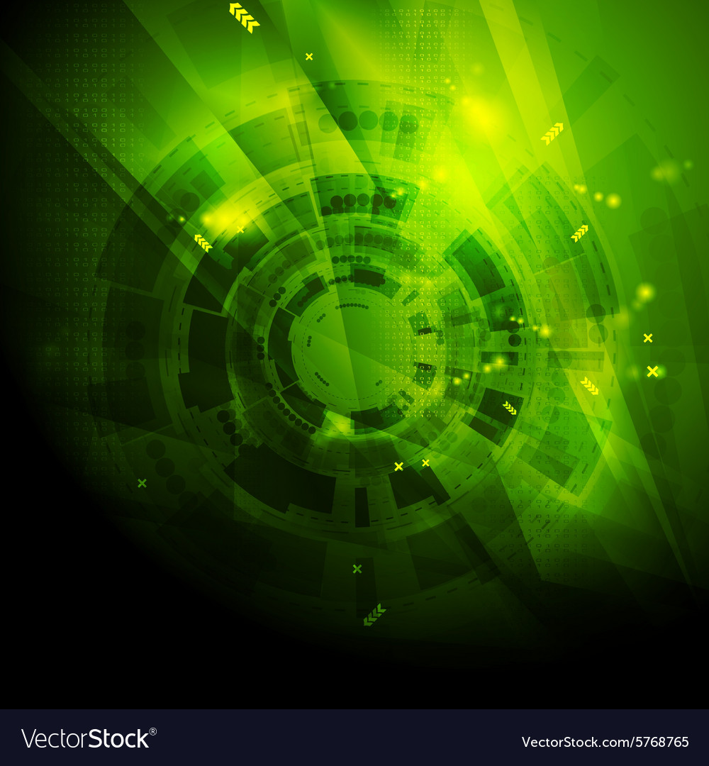 Shiny green engineering tech background vector