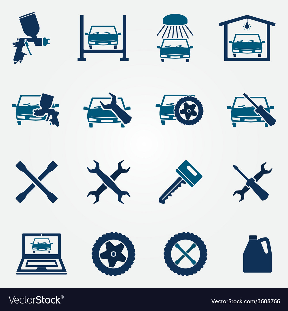 Auto service and repair flat icon set vector