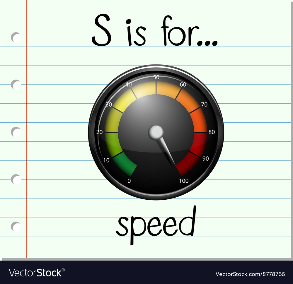 Flashcard letter s is for speed vector