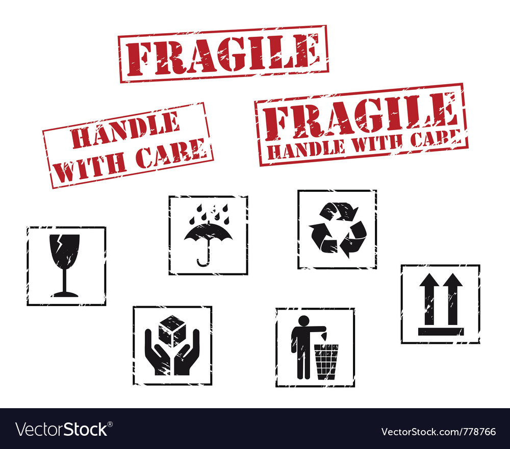 Fragile rubber stamps vector