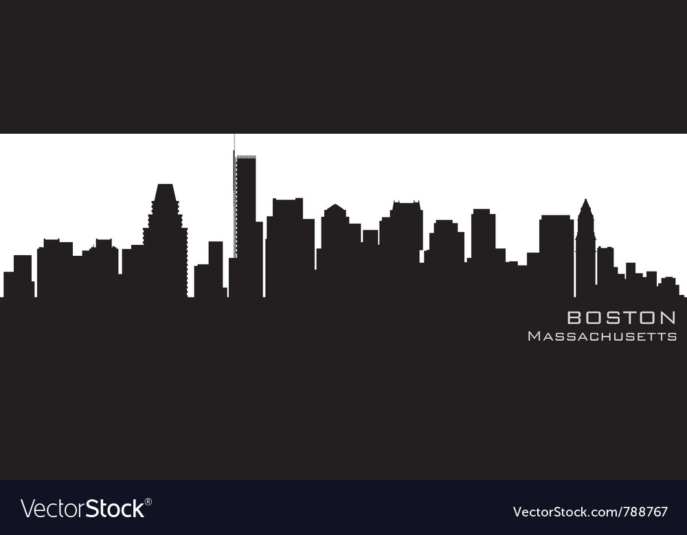 Boston massachusetts skyline detailed silhouette vector