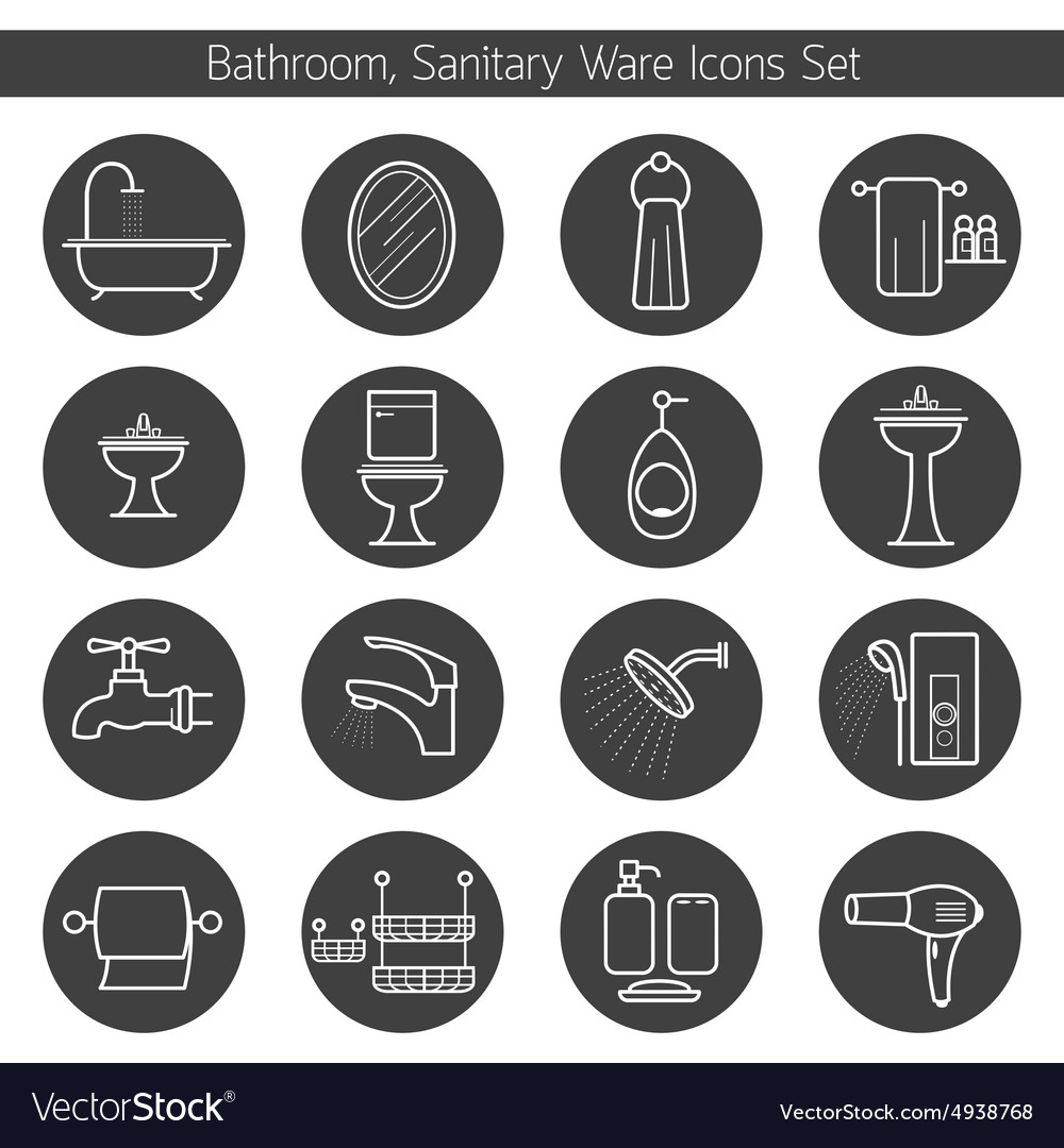 Bathroom line icons set vector