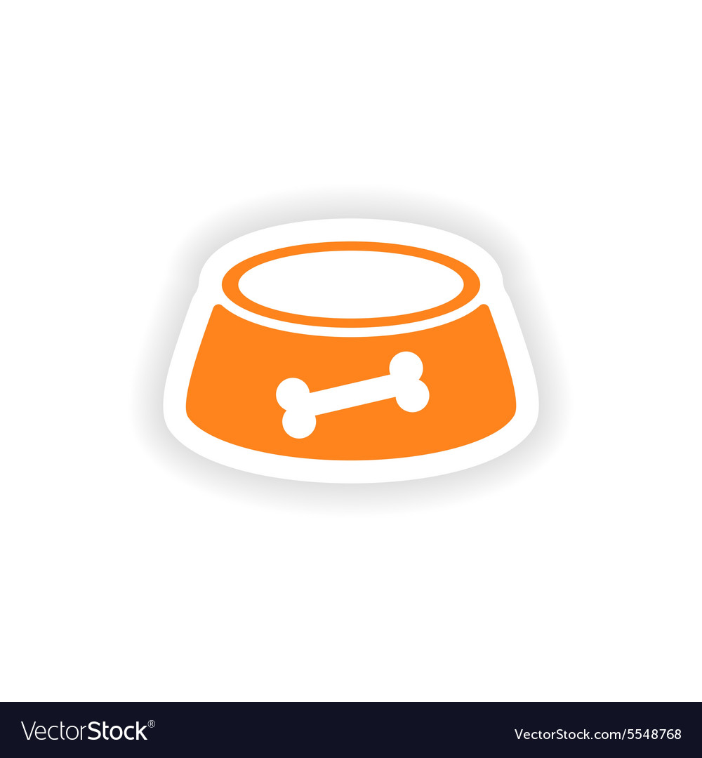 Icon sticker realistic design on paper dog bowl vector