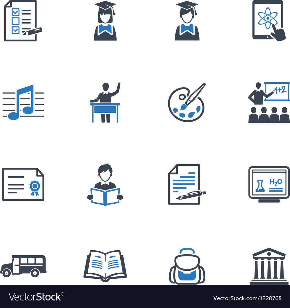 School and education icons set 2  blue series vector