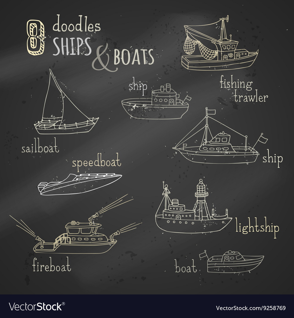 Chalk doodles ship and boat icons set vector