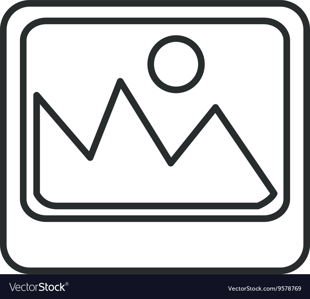 Photo icon with mountains graphic vector