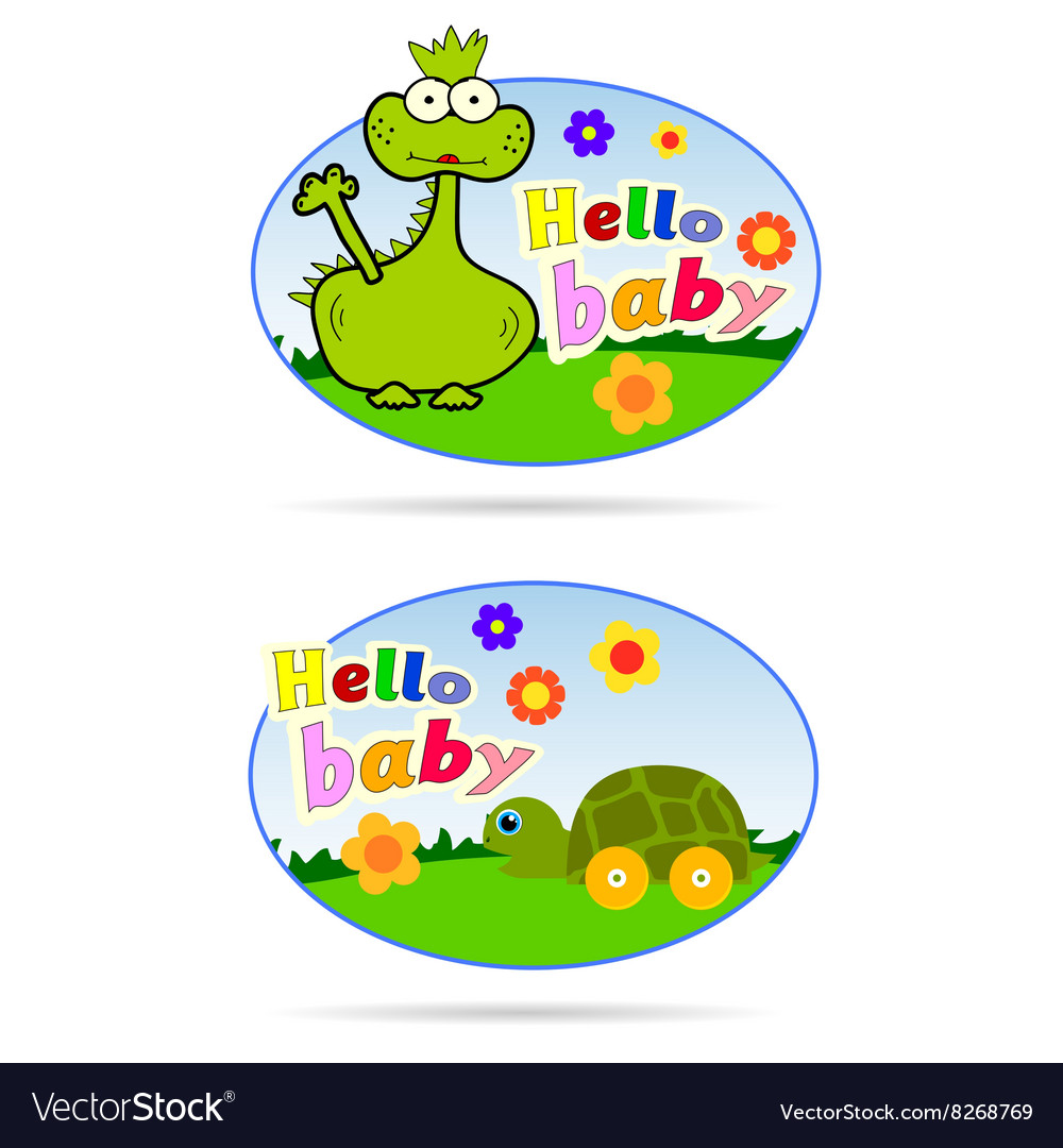 Stickers for babies with dino and turtle vector