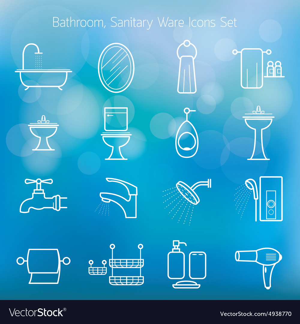 Bathroom line icons set with blur background vector