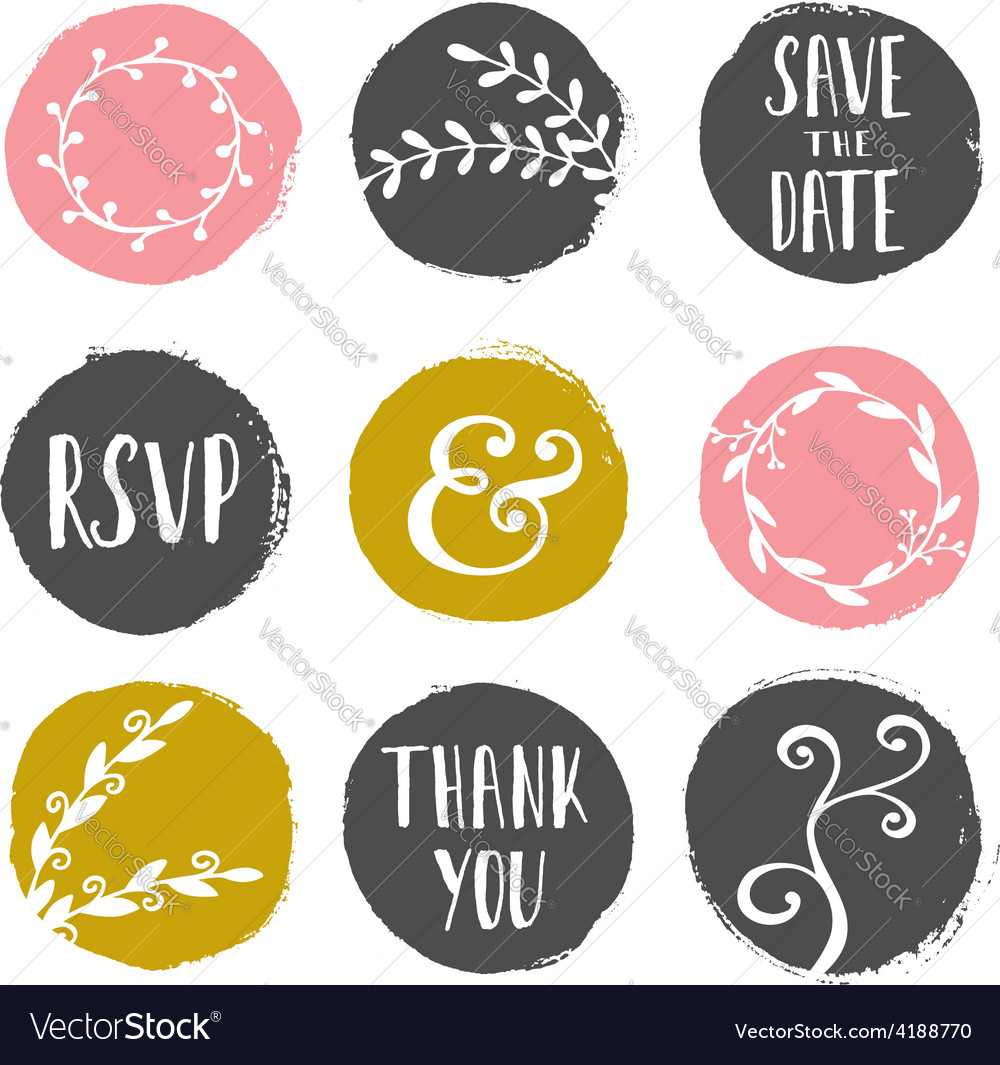 Round brush strokes with floral design elements vector