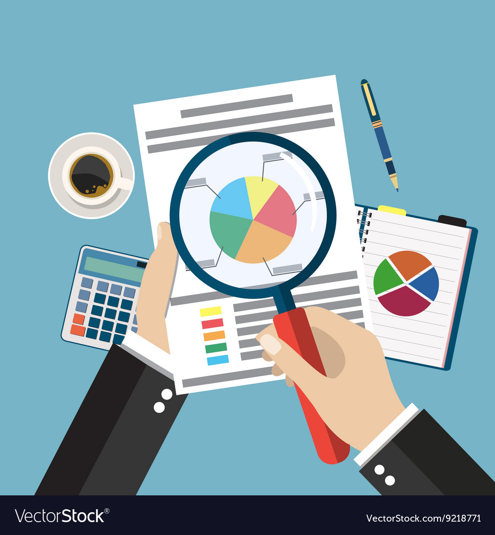 Cartoon businessman hands with magnifier analysis vector