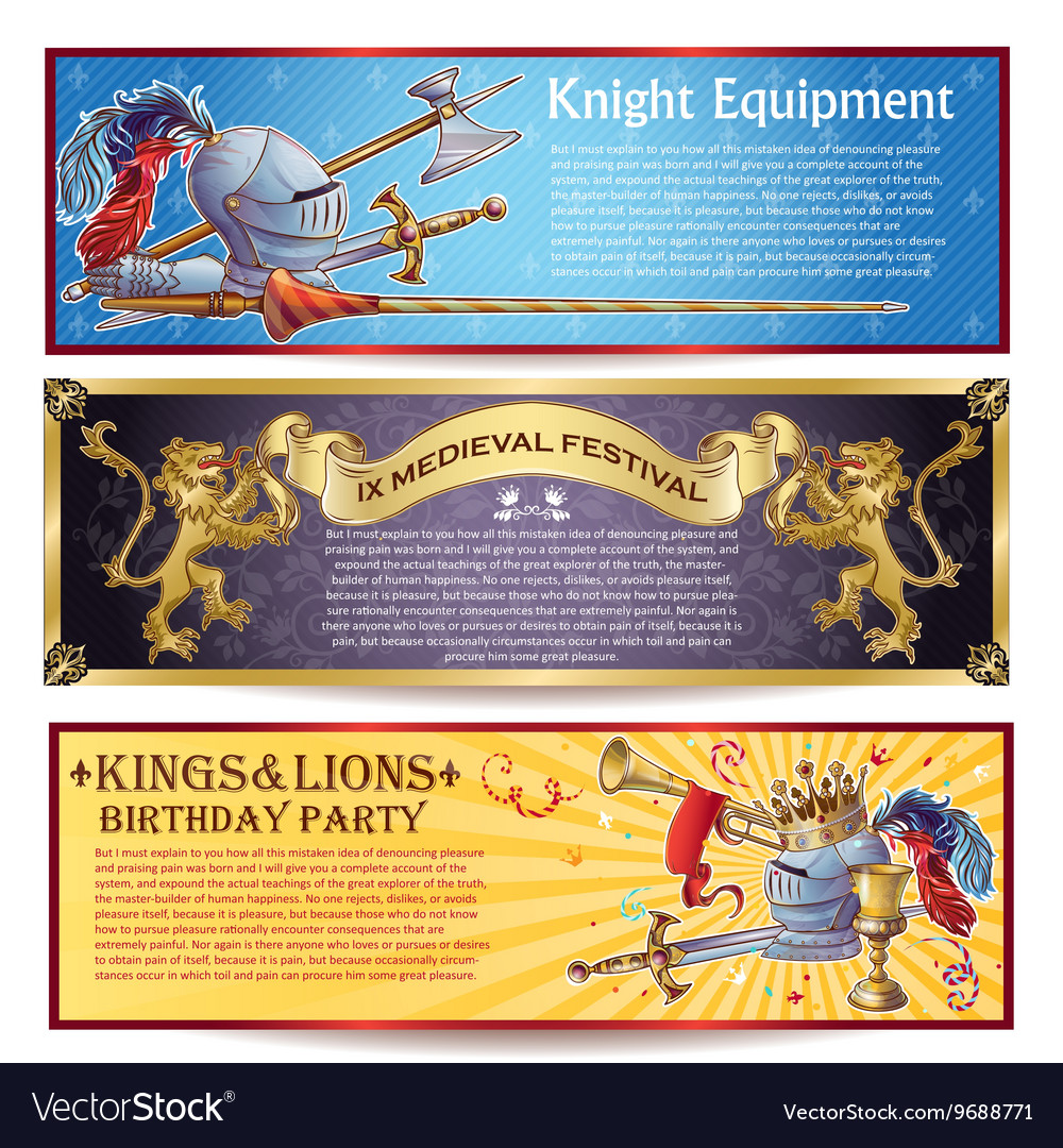 Knight horizontal banners set vector