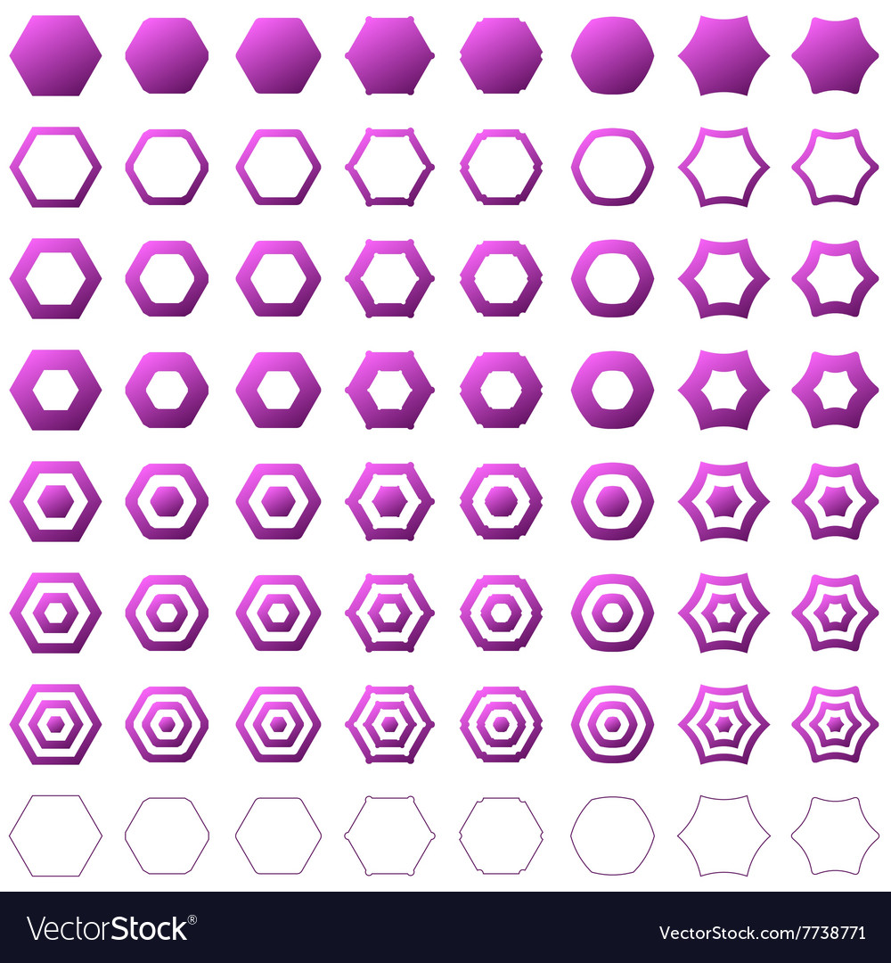 Purple hexagon polygon icon template set vector