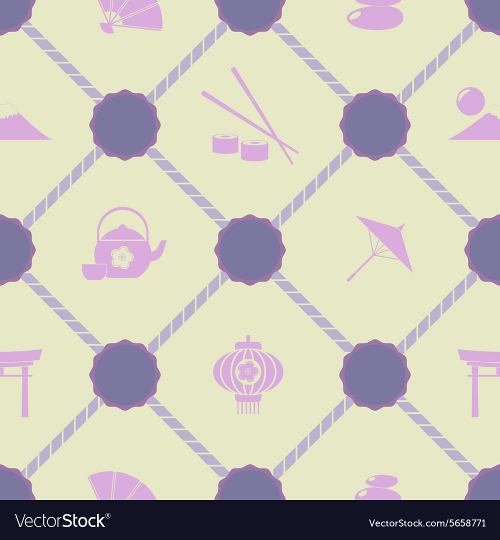 Seamless background with japanese symbols vector