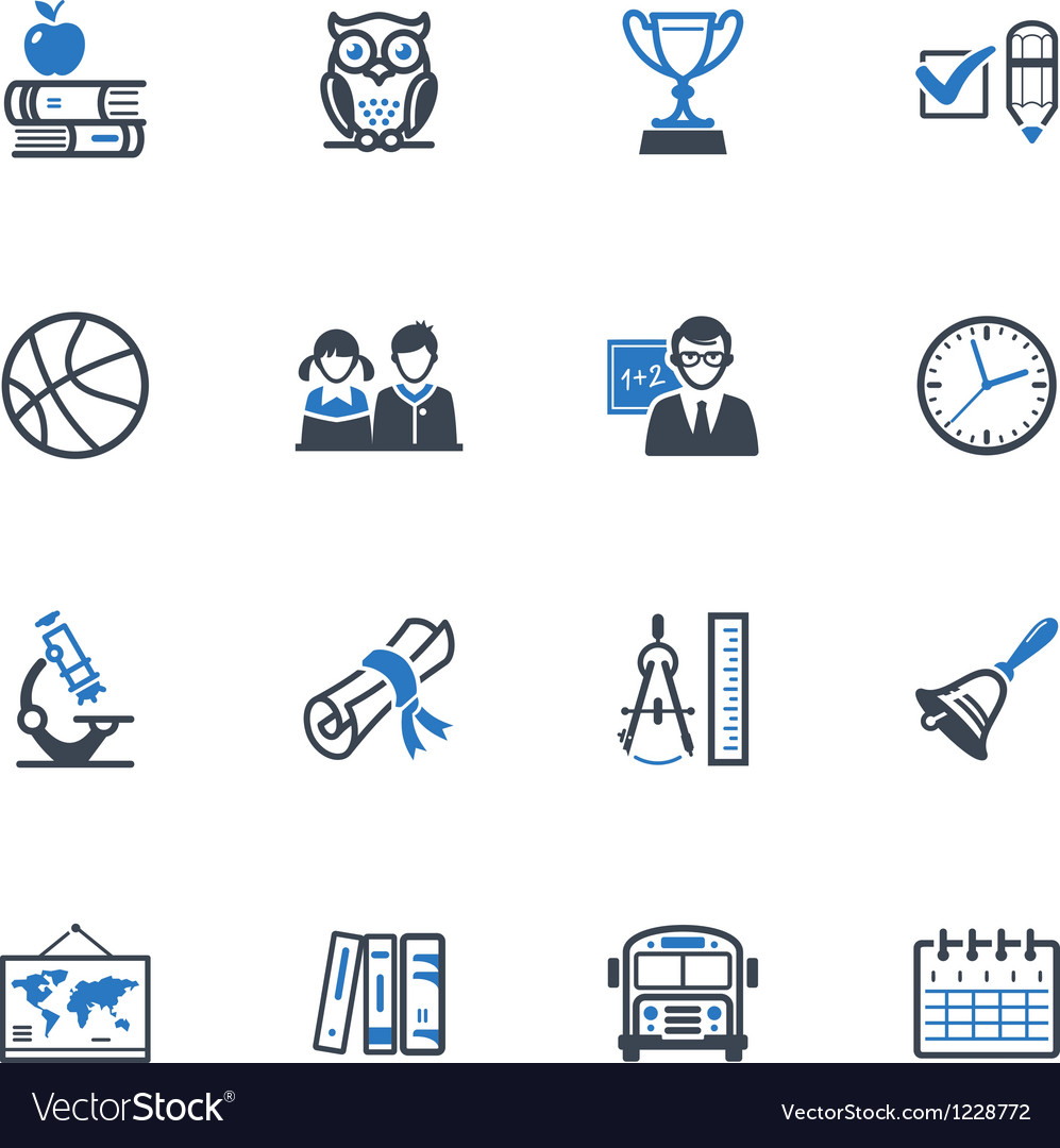 School and education icons set 3  blue series vector