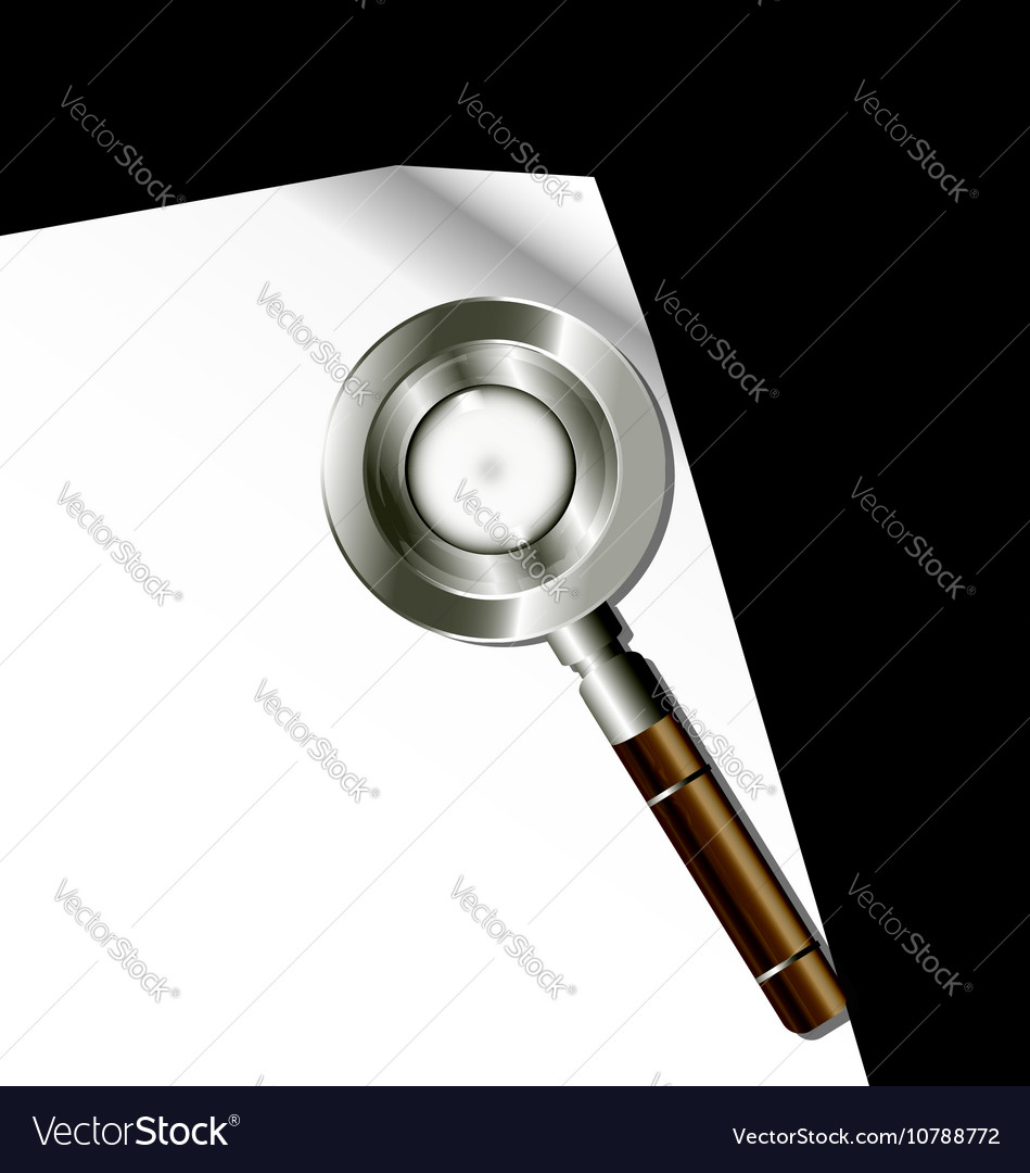White paper and magnifier vector