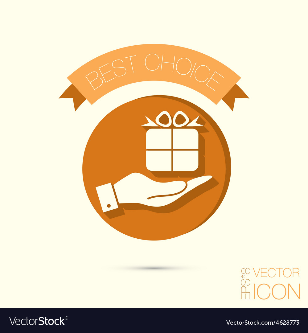 Hand holding a holiday gift box icon eps 8 vector