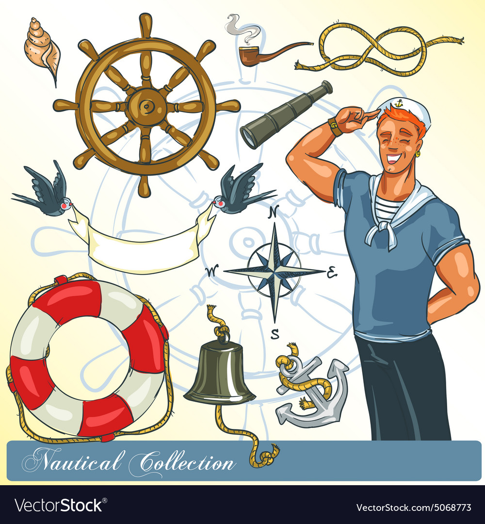 Nautical collection vector