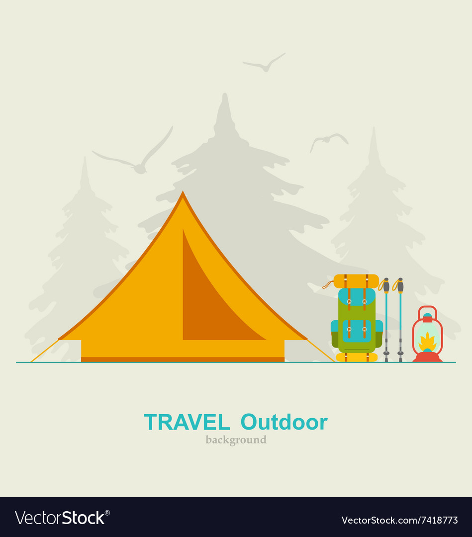 Travel camping background with tourist tent vector