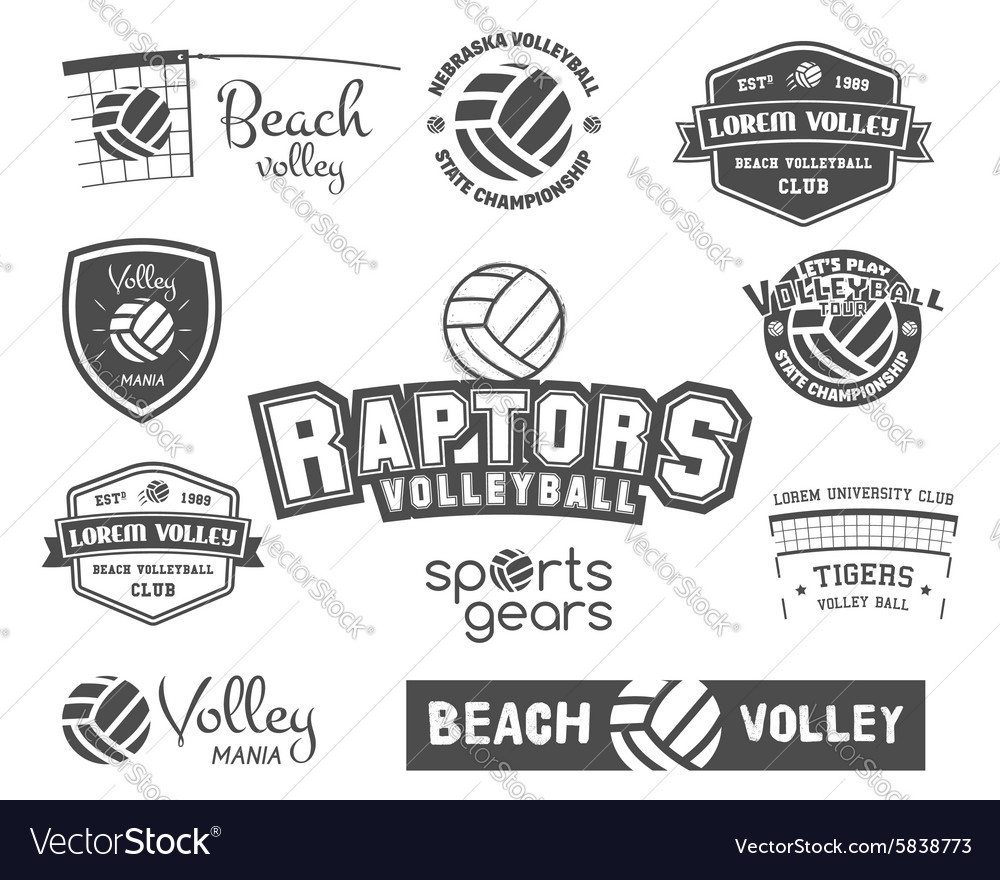 Volleyball labels badges logo and icons set vector