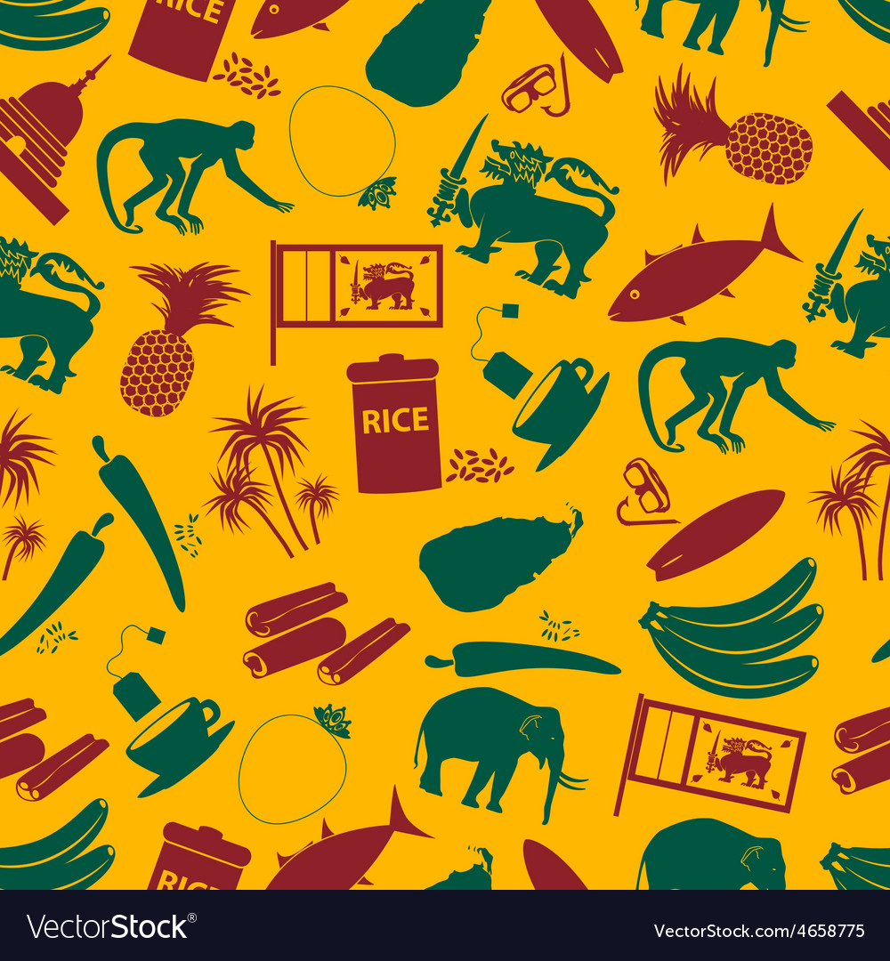 Srilanka country symbols color seamless pattern vector