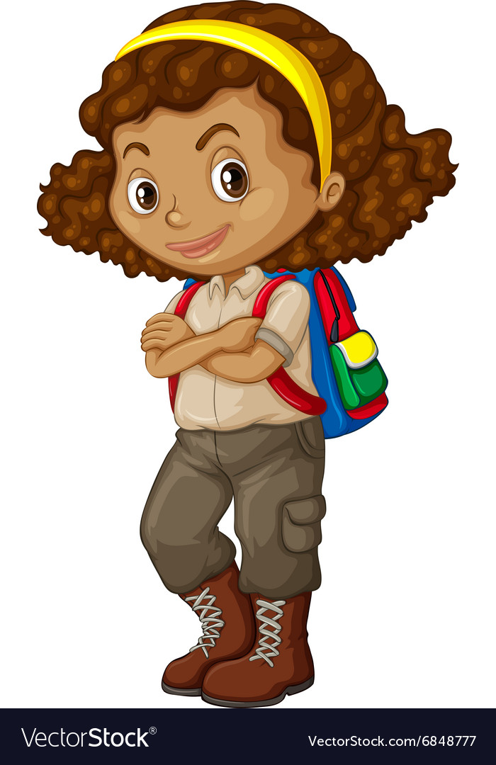 African american girl with backpack vector