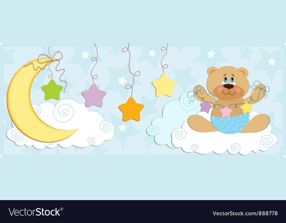 Babys banner with bear in blue colors vector