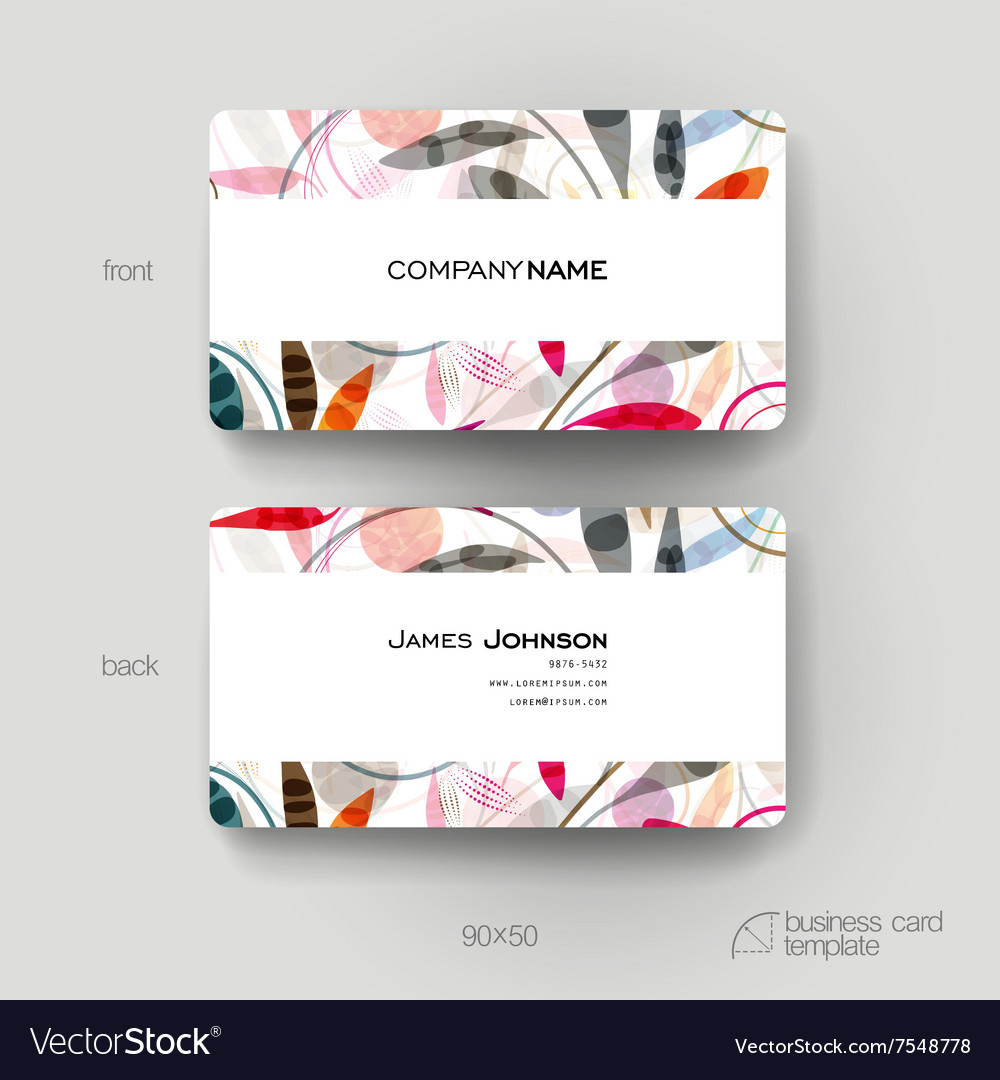 Business card template with floral ornament vector