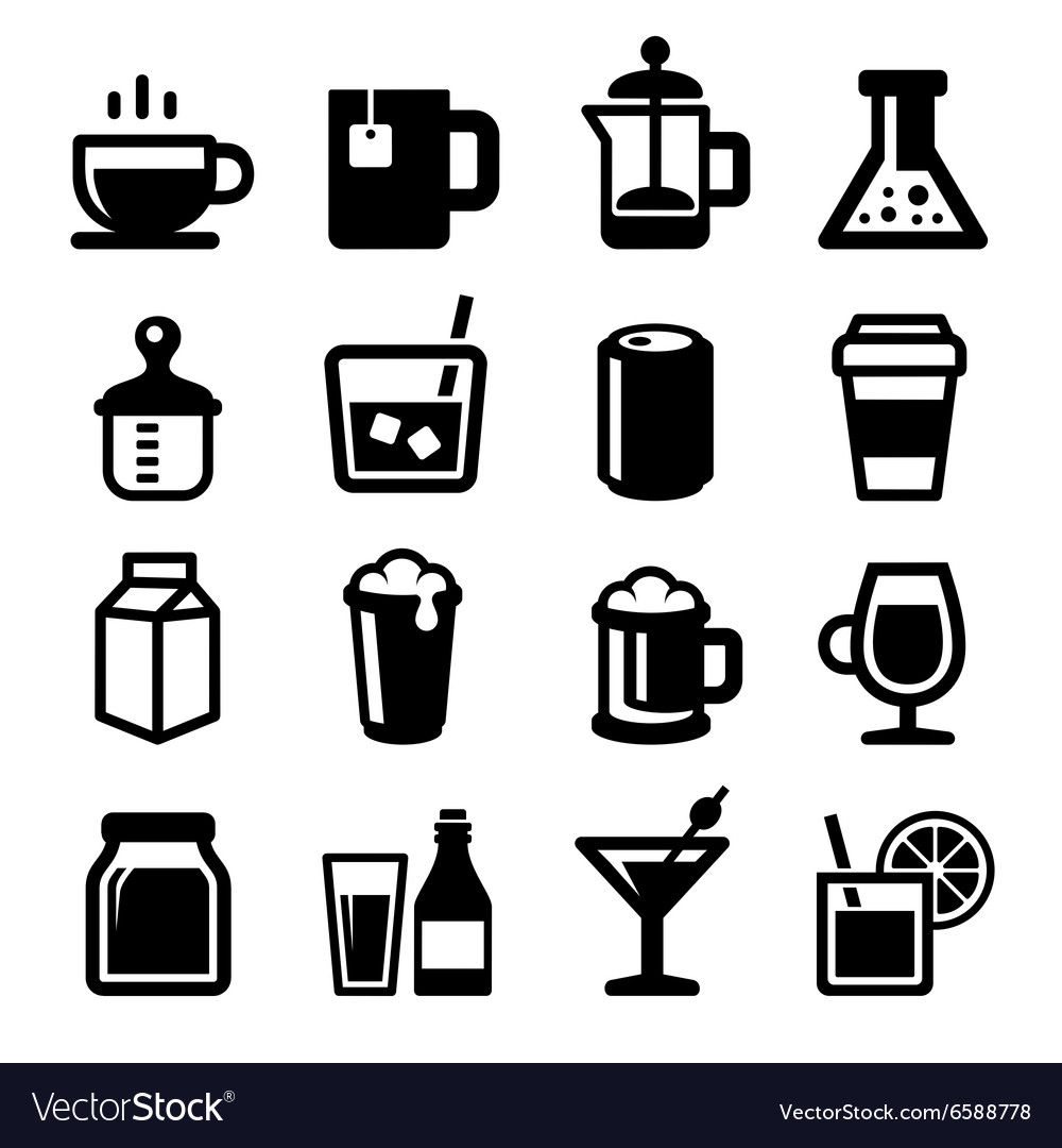 Drinks icons set on white background vector