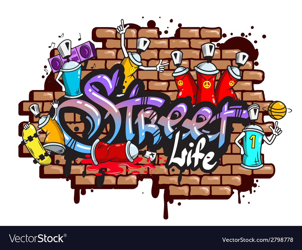 Graffiti word characters composition vector