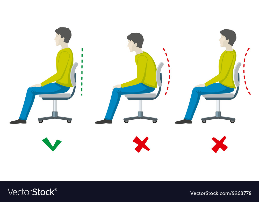 Wrong and right spine sitting posture vector