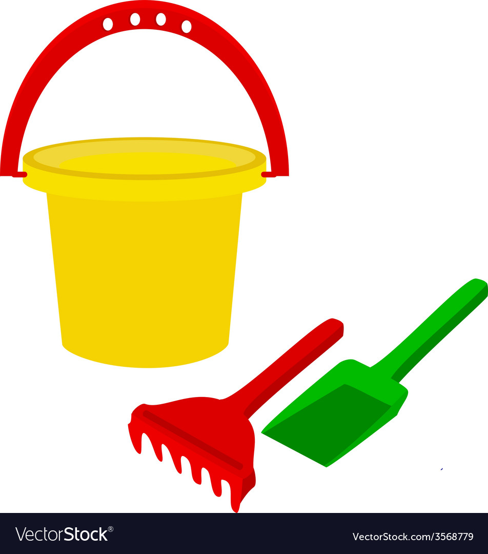 Kids bucket with rake and shovel vector
