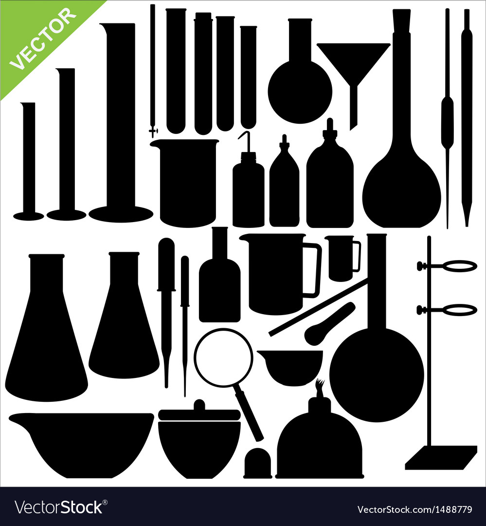 Science laboratory silhouettes vector