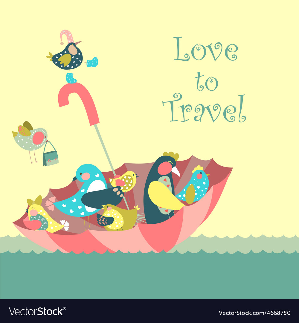 Cute birds floating on umbrella in the sea vector