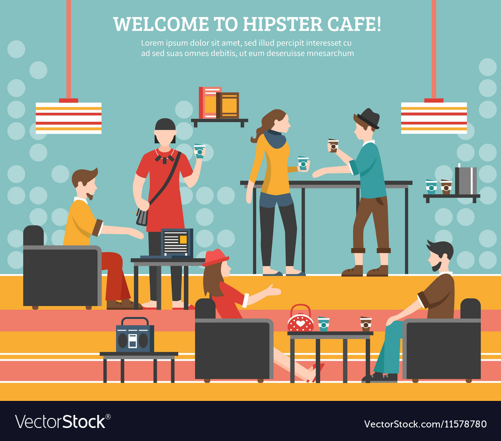 Hipster cafe flat vector