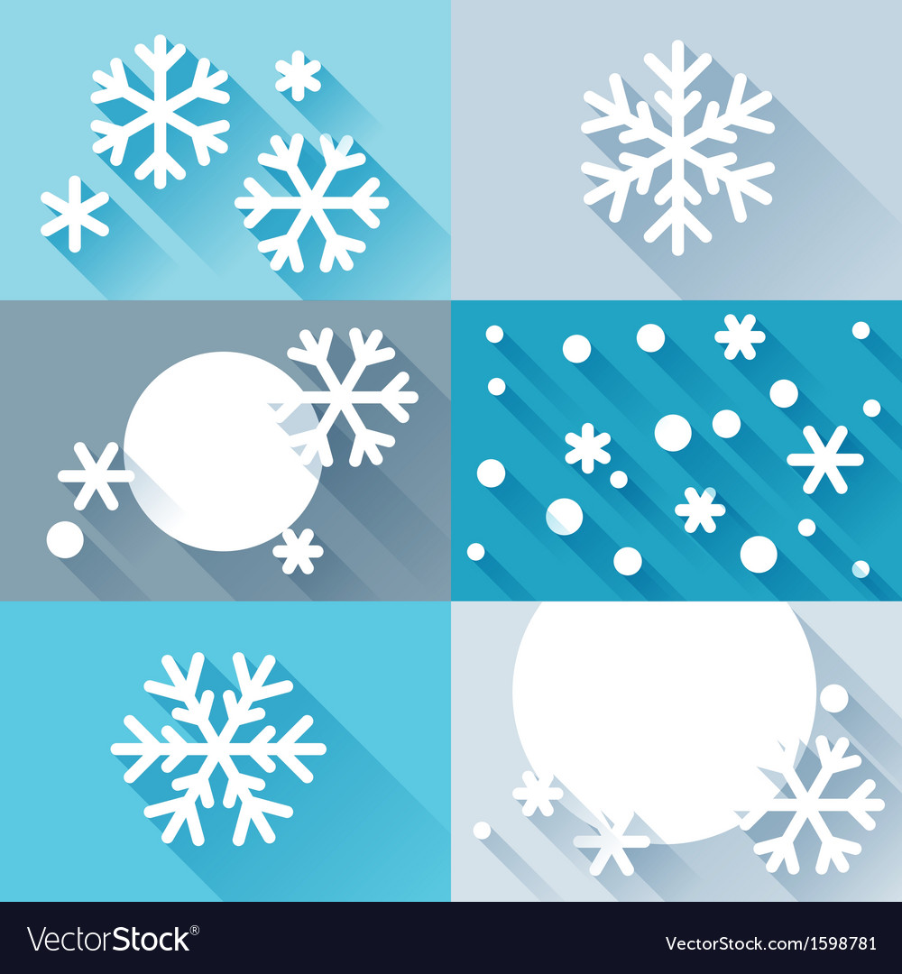 Abstract background with snowflakes in flat design vector