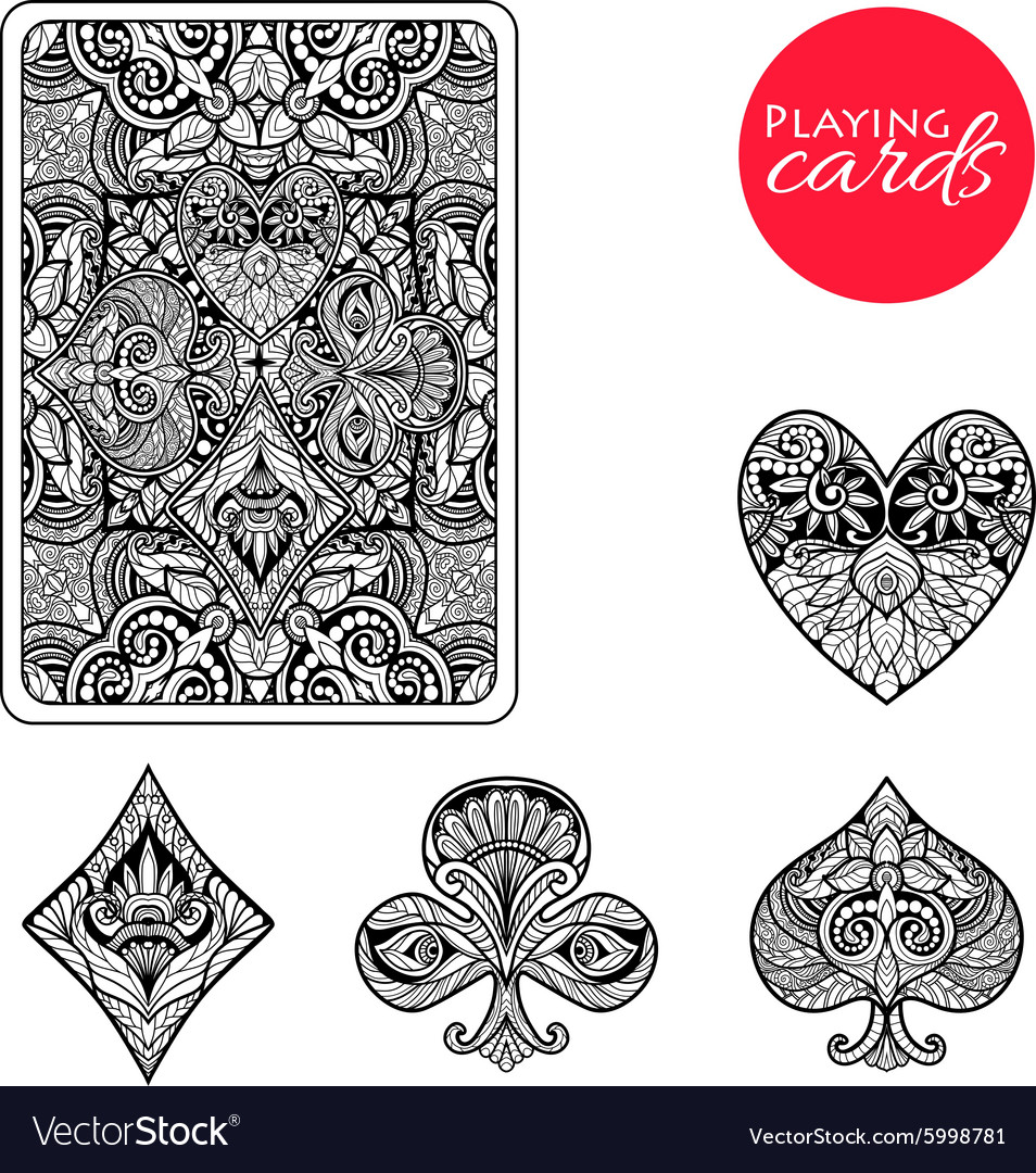 Decorative card suits set vector