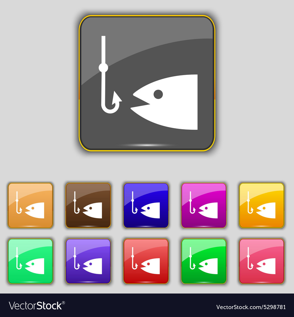 Fishing icon sign set with eleven colored buttons vector