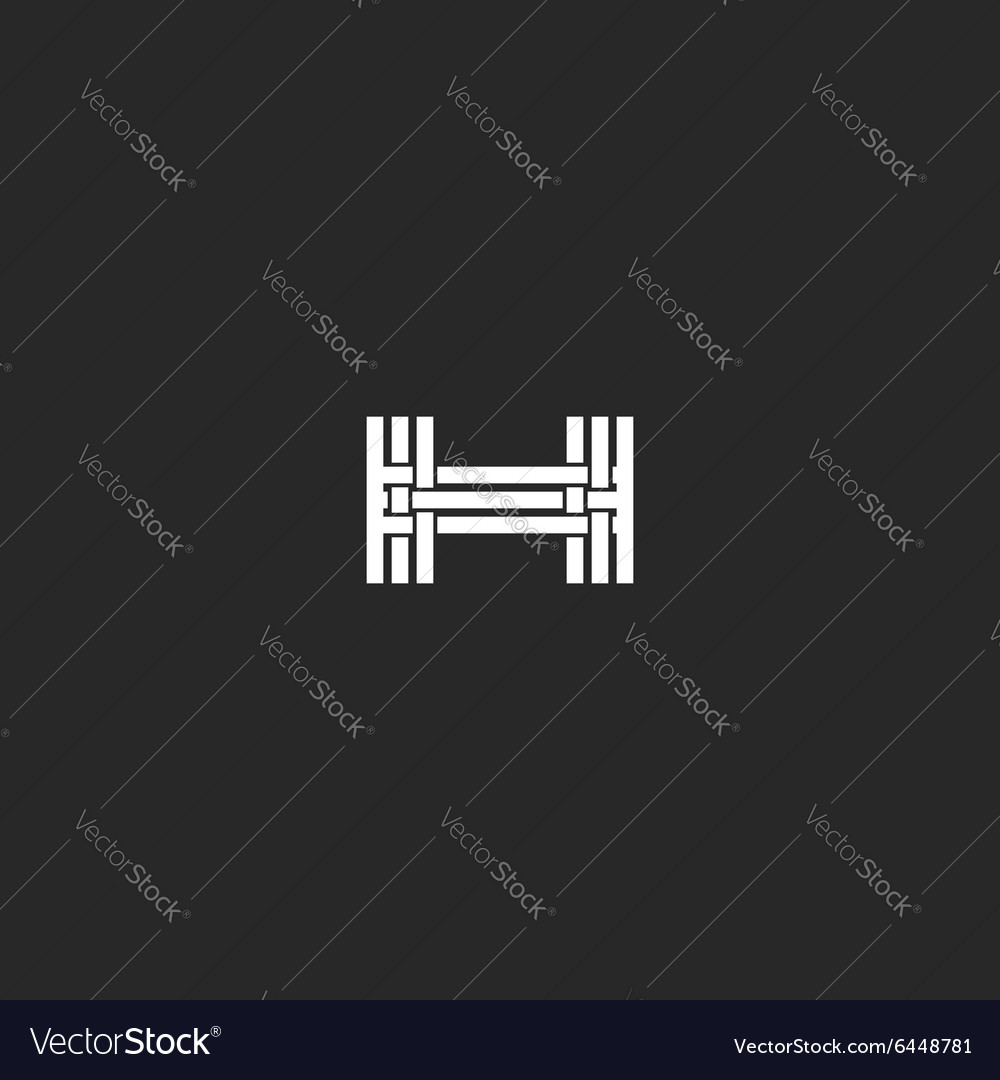 Monogram letter h logo interlacing thin line vector