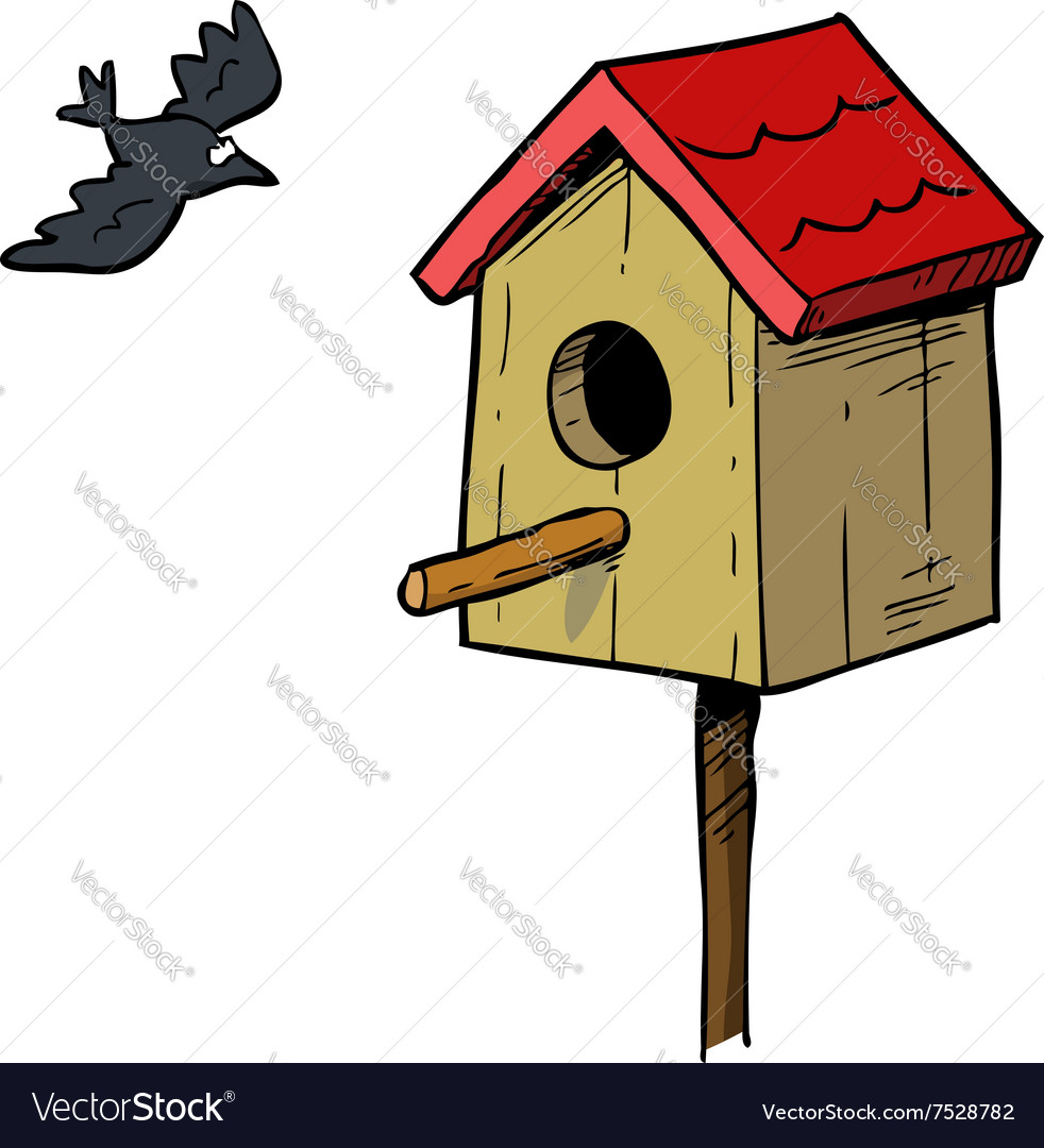 Birdhouse with bird vector