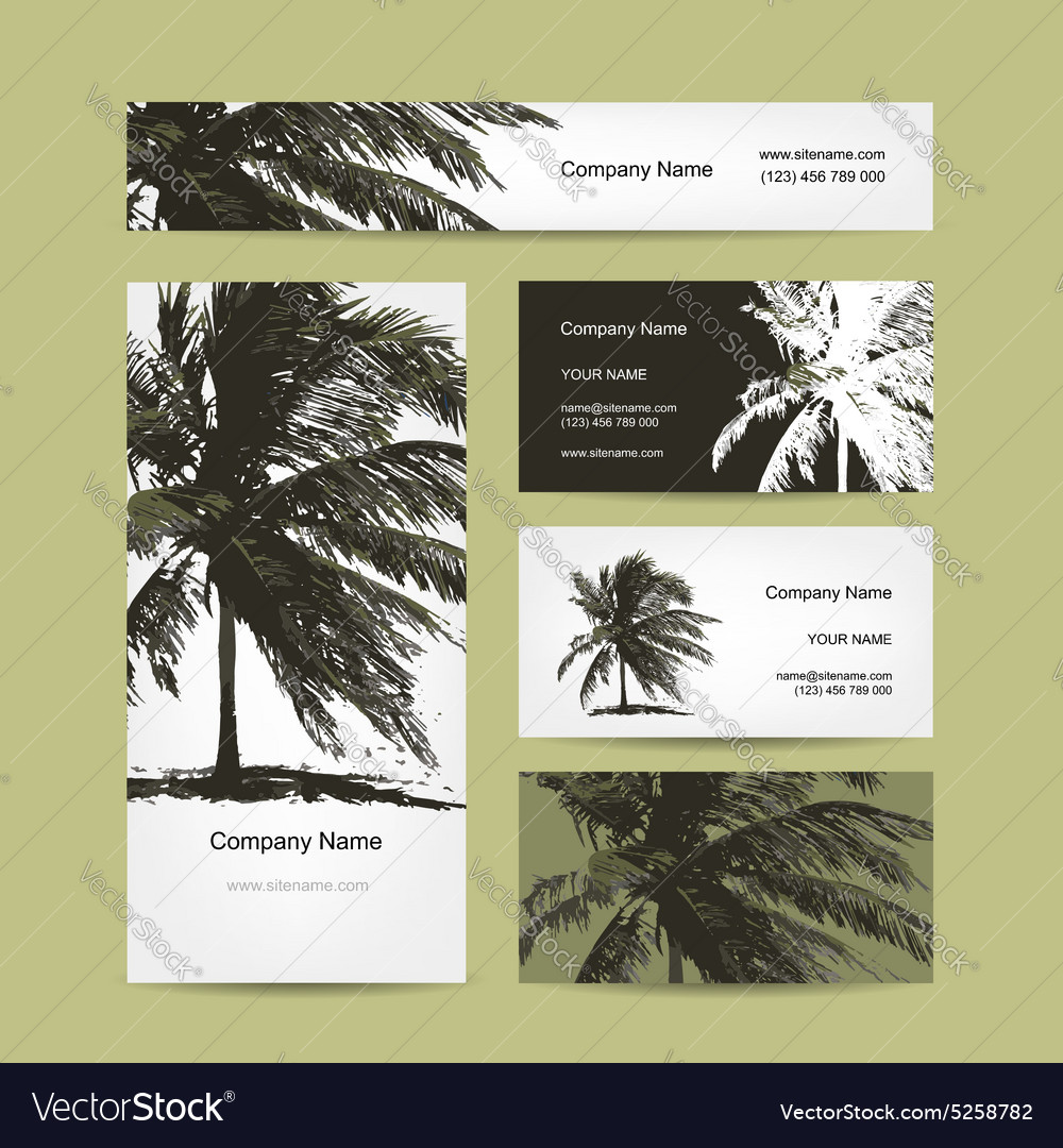 Business cards design with tropical palm tree vector