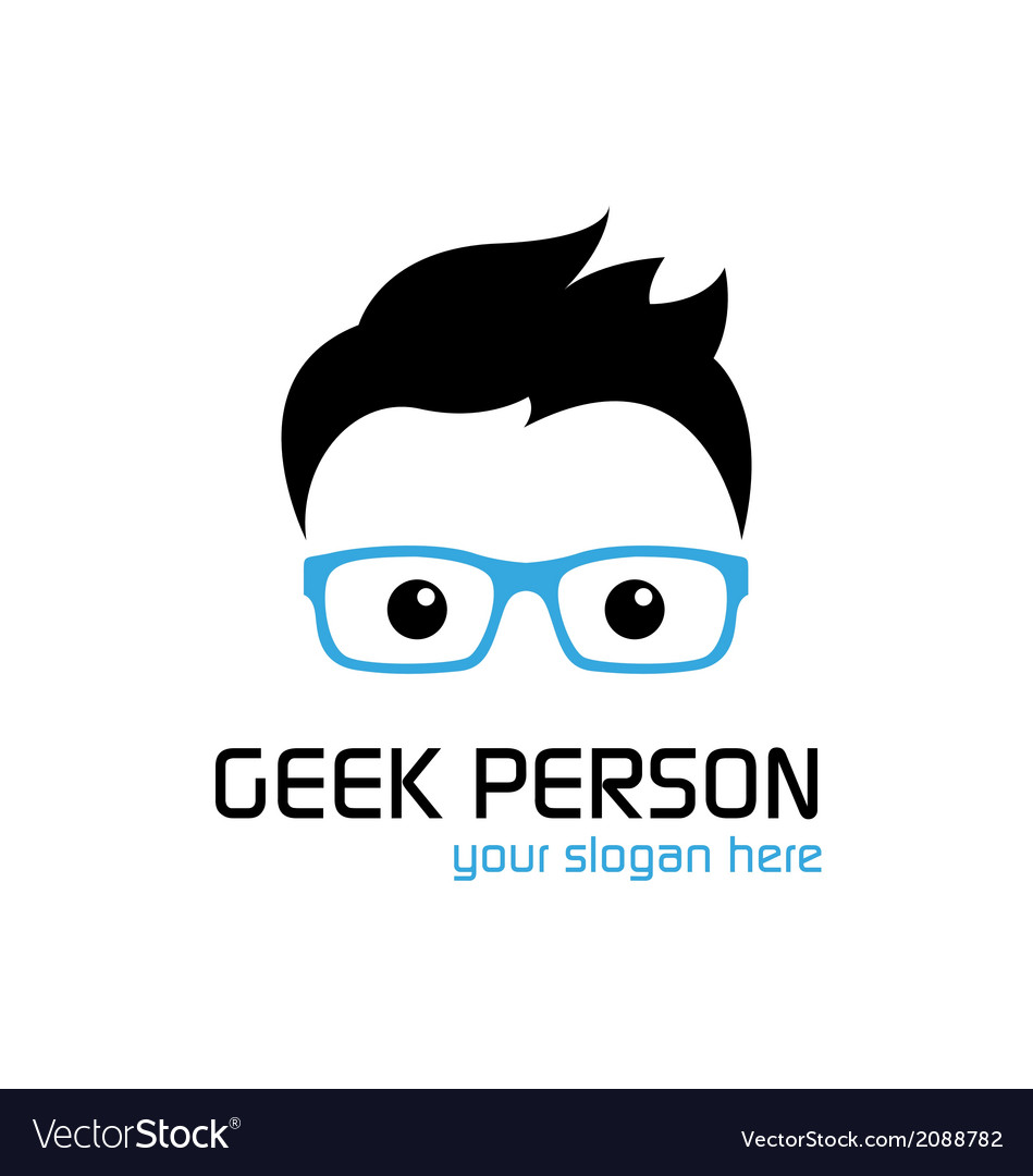 Geek person logo template vector